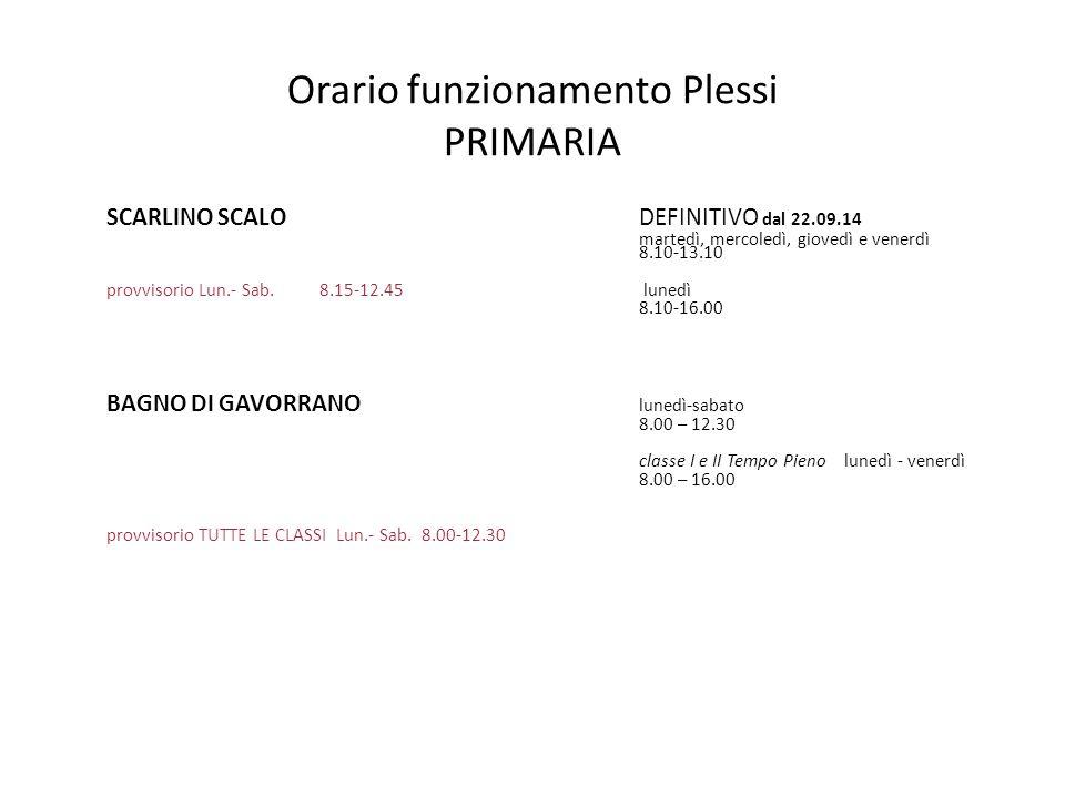 Orario funzionamento Plessi PRIMARIA SCARLINO SCALO DEFINITIVO dal 22.09.14 martedì, mercoledì, giovedì e venerdì 8.10-13.10 provvisorio Lun.- Sab.8.1