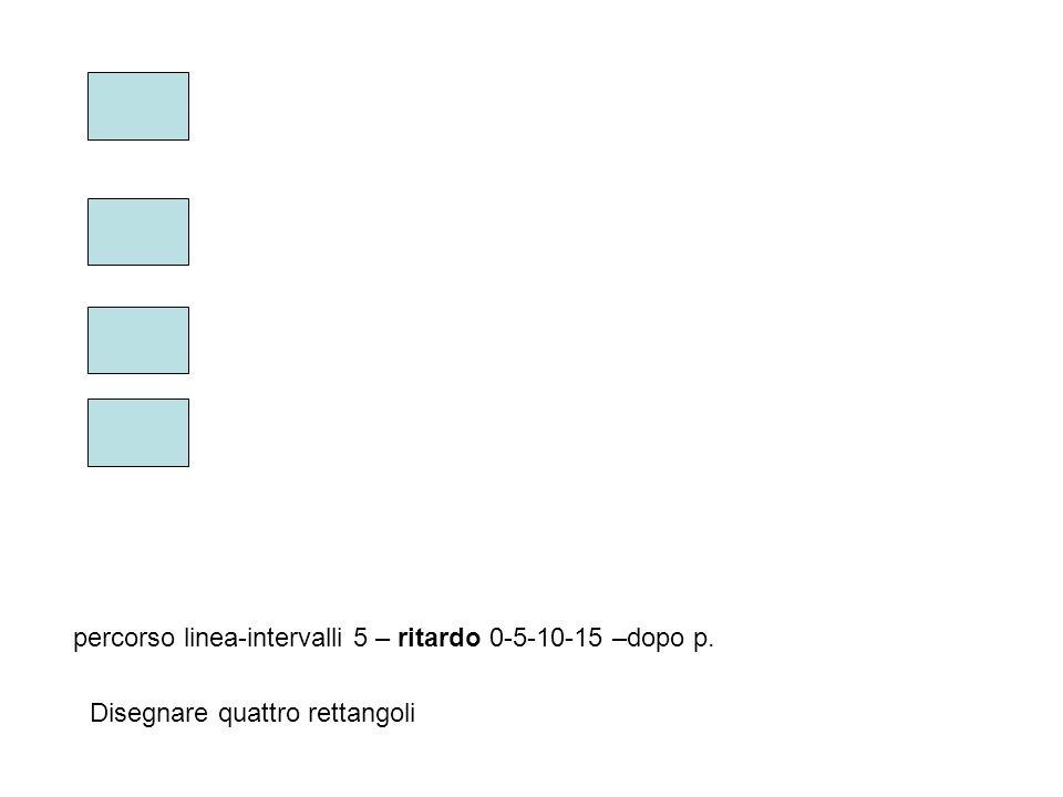 percorso linea-intervalli 5 – ritardo 0-5-10-15 –dopo p. Disegnare quattro rettangoli