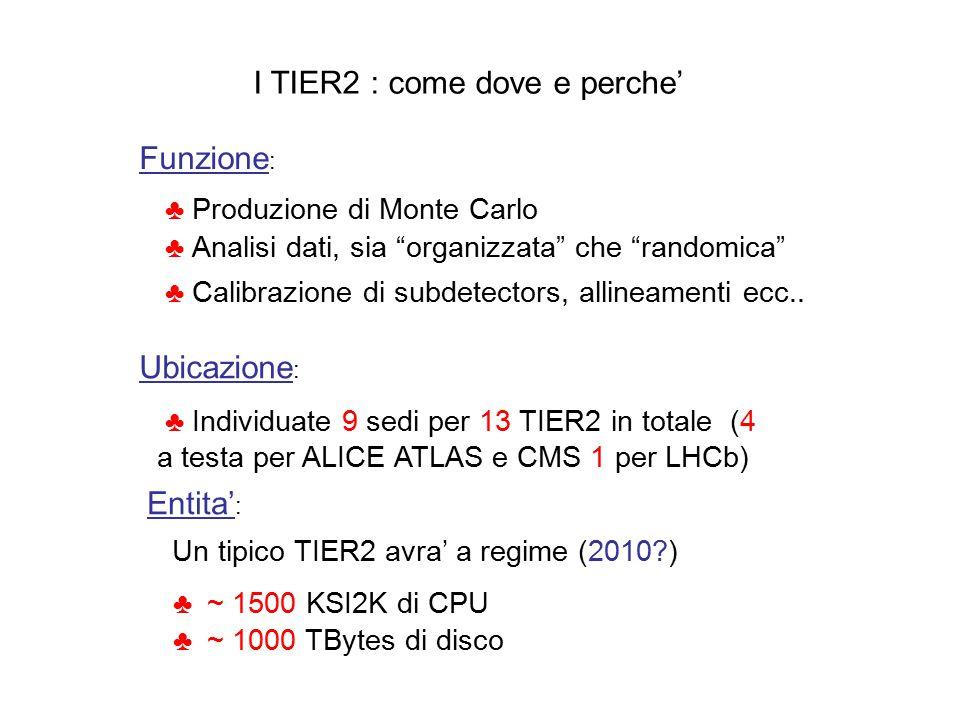 I TIER2 : come dove e perche' Funzione : ♣ Produzione di Monte Carlo ♣ Analisi dati, sia organizzata che randomica ♣ Calibrazione di subdetectors, allineamenti ecc..
