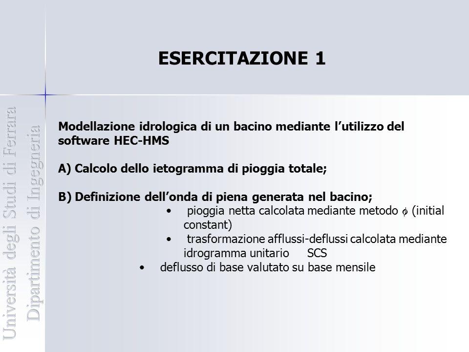 ESERCITAZIONE 1 Modellazione idrologica di un bacino mediante l'utilizzo del software HEC-HMS A) Calcolo dello ietogramma di pioggia totale; B) Defini