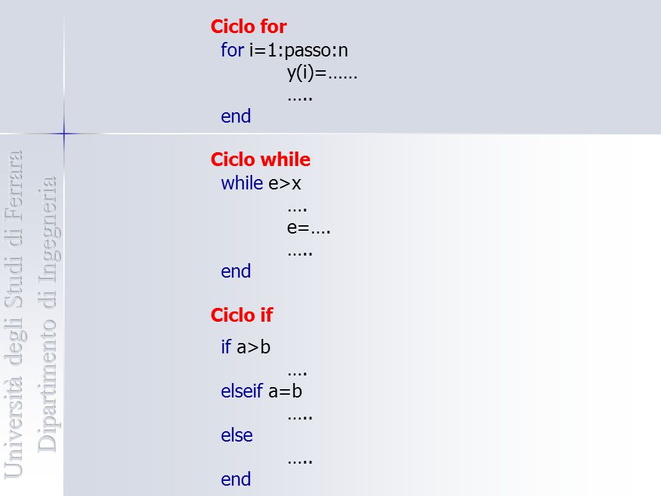 for i=1:passo:n y(i)=…… ….. end while e>x …. e=…. ….. end Ciclo for Ciclo while Ciclo if if a>b …. elseif a=b ….. else ….. end