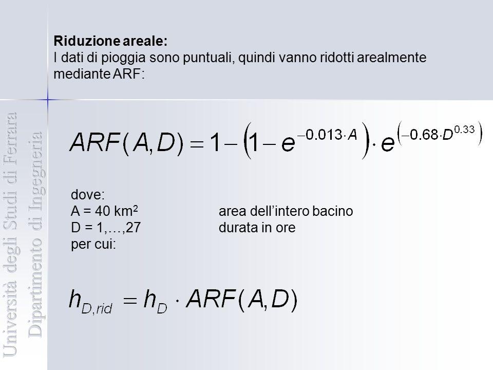 Riduzione areale: I dati di pioggia sono puntuali, quindi vanno ridotti arealmente mediante ARF: dove: A = 40 km 2 area dell'intero bacino D = 1,…,27d