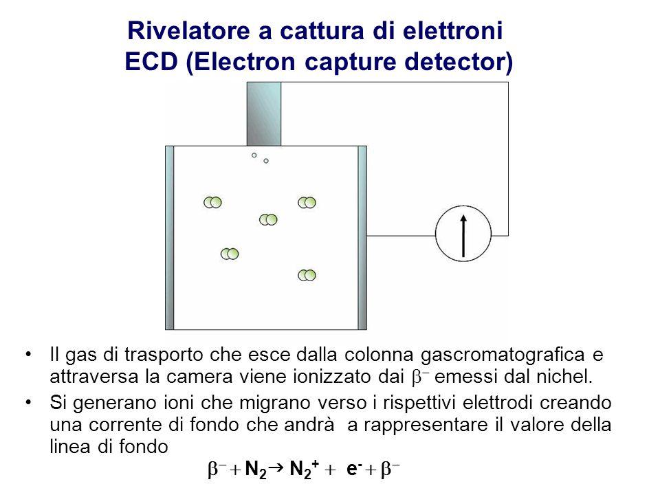 Il gas di trasporto che esce dalla colonna gascromatografica e attraversa la camera viene ionizzato dai    emessi dal nichel. Si generano ioni che