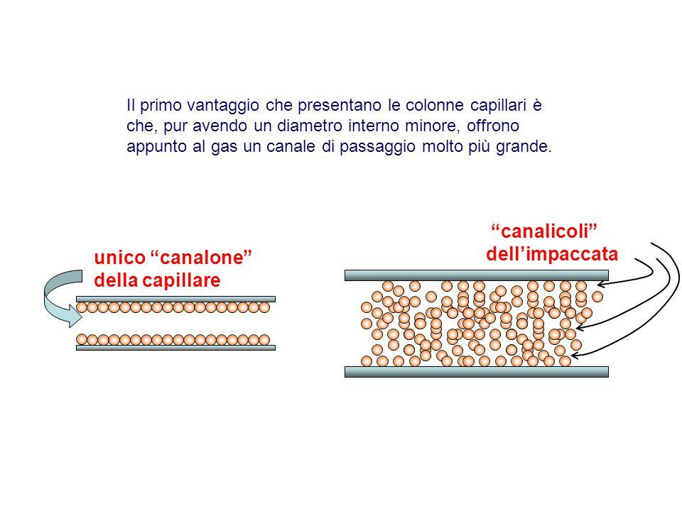 Il primo vantaggio che presentano le colonne capillari è che, pur avendo un diametro interno minore, offrono appunto al gas un canale di passaggio mol