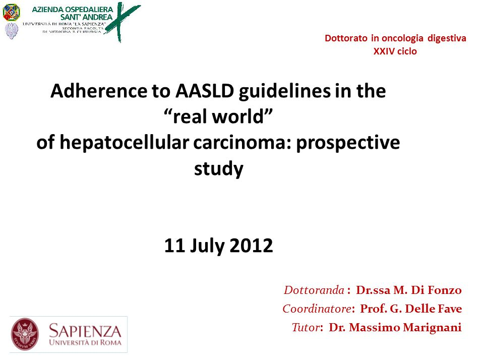 Adherence to AASLD guidelines in the real world of hepatocellular carcinoma: prospective study 11 July 2012 Dottorato in oncologia digestiva XXIV ciclo Dottoranda : Dr.ssa M.