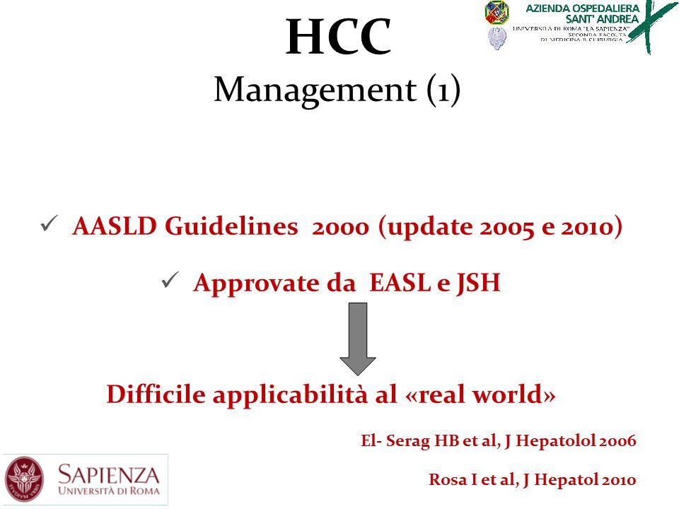 HCC Management (1) AASLD Guidelines 2000 (update 2005 e 2010) Approvate da EASL e JSH Difficile applicabilità al «real world» El- Serag HB et al, J He