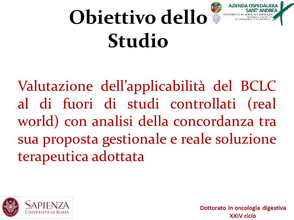 Obiettivo dello Studio Valutazione dell'applicabilità del BCLC al di fuori di studi controllati (real world) con analisi della concordanza tra sua pro