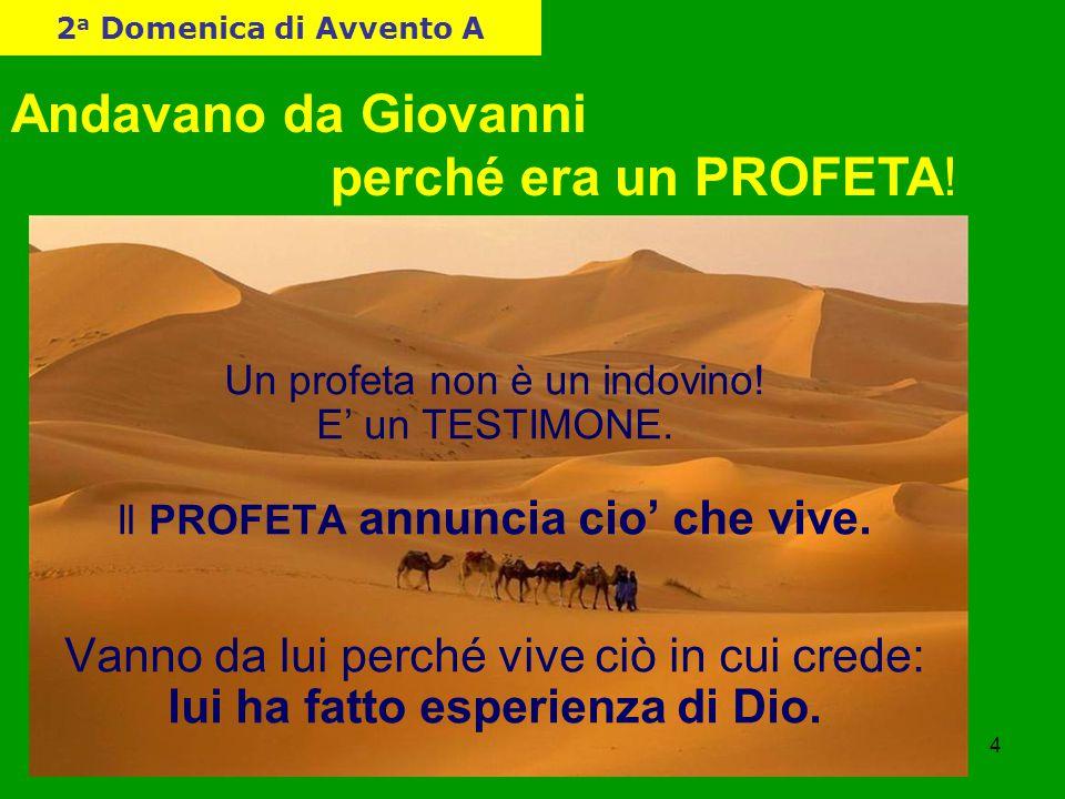 4 Andavano da Giovanni perché era un PROFETA! Un profeta non è un indovino! E' un TESTIMONE. Il PROFETA annuncia cio' che vive. Vanno da lui perché vi