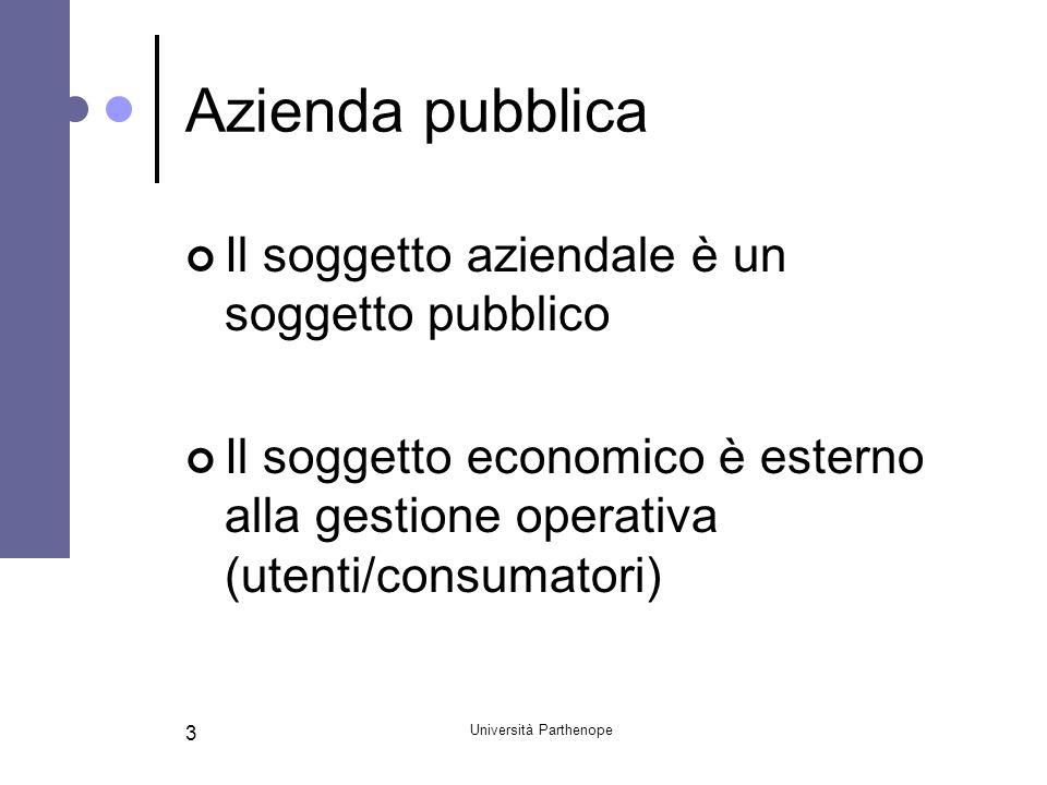 Università Parthenope 3 Azienda pubblica Il soggetto aziendale è un soggetto pubblico Il soggetto economico è esterno alla gestione operativa (utenti/consumatori)