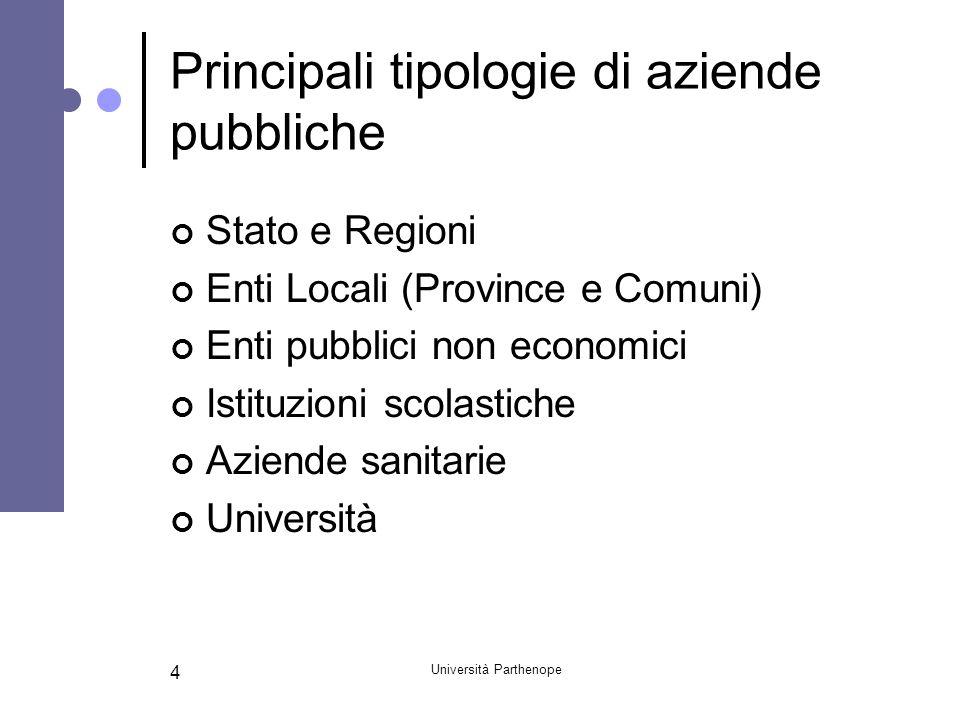 Università Parthenope 4 Principali tipologie di aziende pubbliche Stato e Regioni Enti Locali (Province e Comuni) Enti pubblici non economici Istituzi