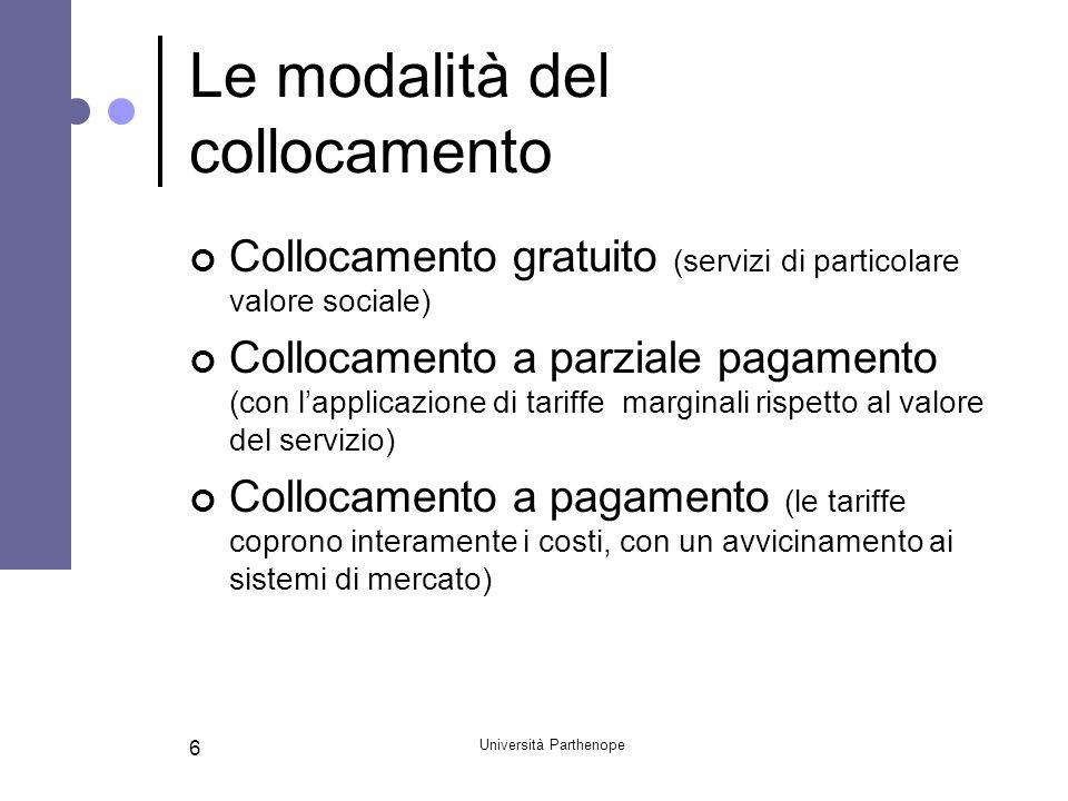 Università Parthenope 6 Le modalità del collocamento Collocamento gratuito (servizi di particolare valore sociale) Collocamento a parziale pagamento (