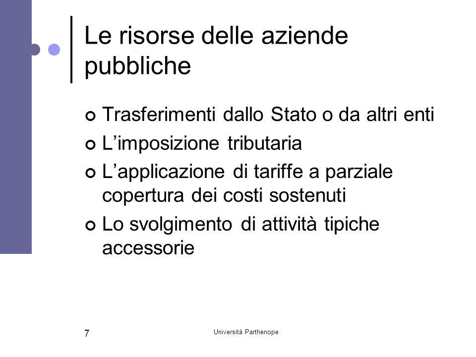 Università Parthenope 7 Le risorse delle aziende pubbliche Trasferimenti dallo Stato o da altri enti L'imposizione tributaria L'applicazione di tariff