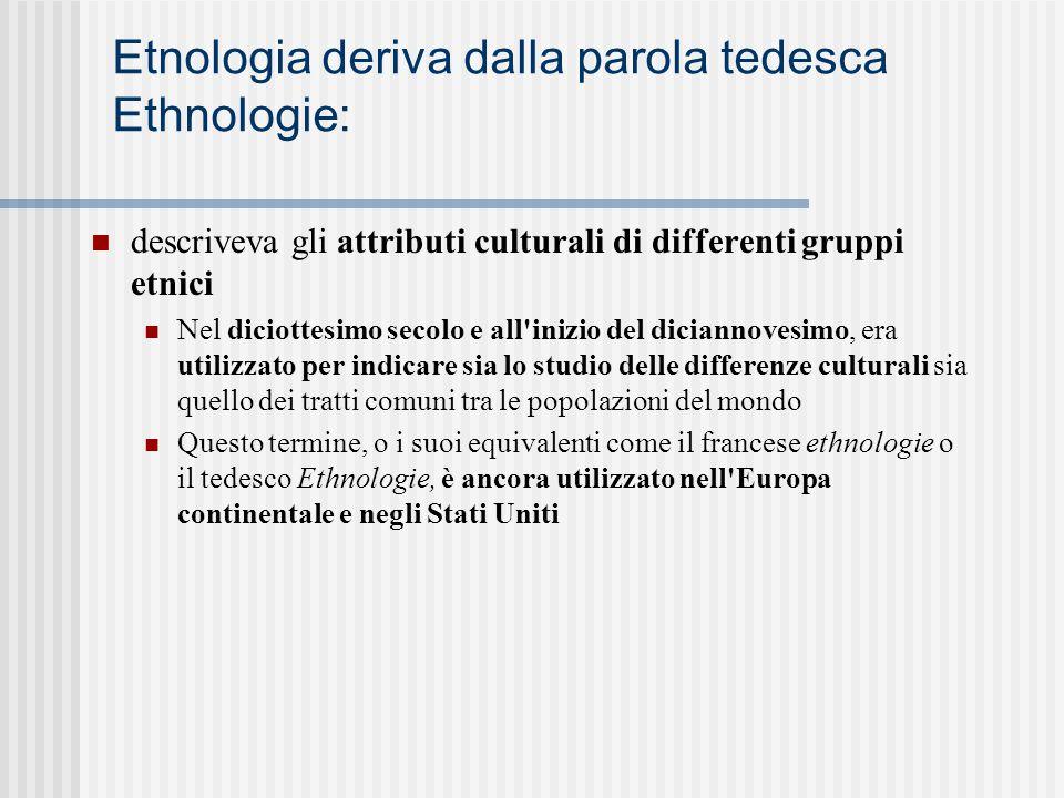 Etnologia deriva dalla parola tedesca Ethnologie: descriveva gli attributi culturali di differenti gruppi etnici Nel diciottesimo secolo e all'inizio