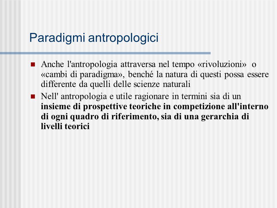 Paradigmi antropologici Anche l'antropologia attraversa nel tempo «rivoluzioni» o «cambi di paradigma», benché la natura di questi possa essere differ