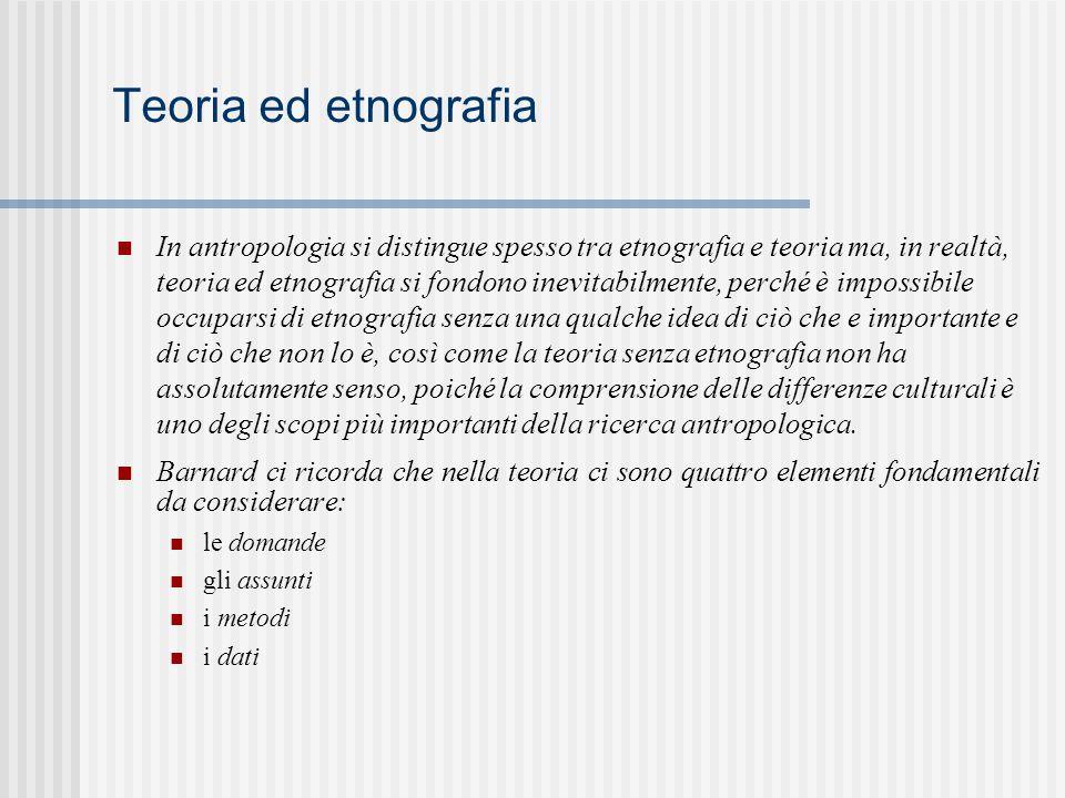 Teoria ed etnografia In antropologia si distingue spesso tra etnografia e teoria ma, in realtà, teoria ed etnografia si fondono inevitabilmente, perch
