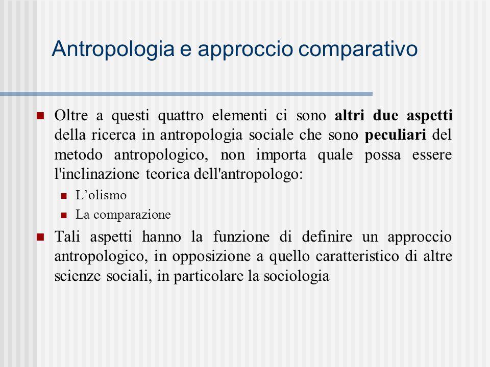 Antropologia e approccio comparativo Oltre a questi quattro elementi ci sono altri due aspetti della ricerca in antropologia sociale che sono peculiar