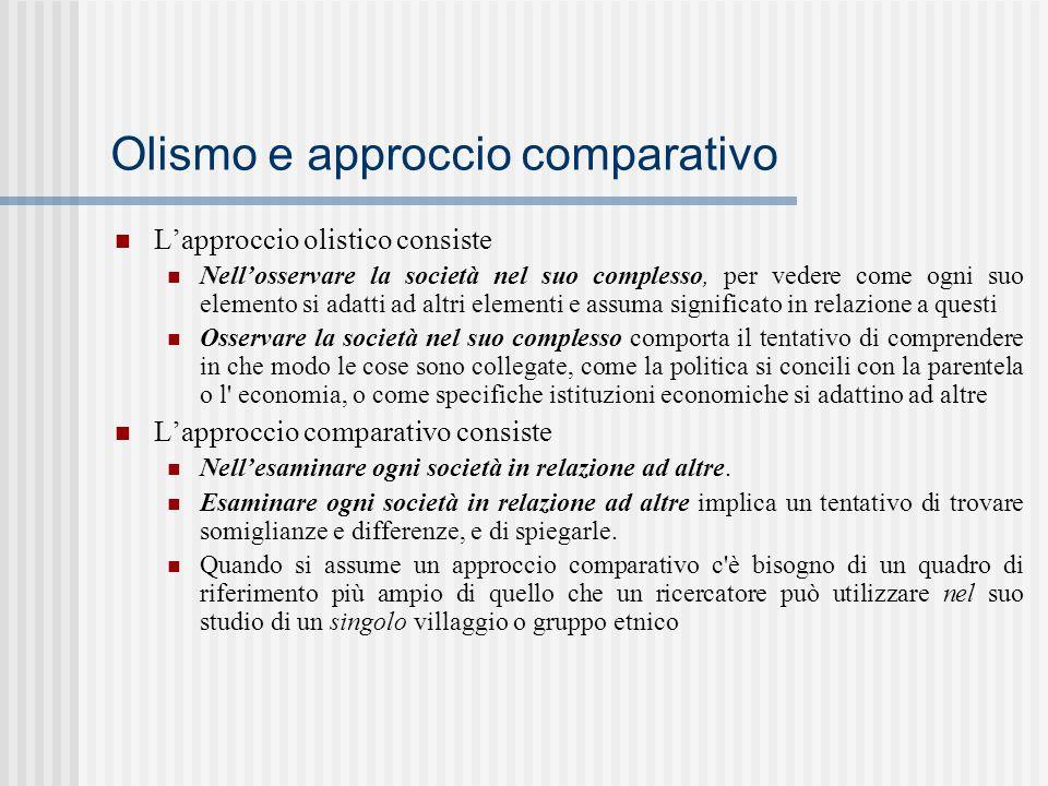 Olismo e approccio comparativo L'approccio olistico consiste Nell'osservare la società nel suo complesso, per vedere come ogni suo elemento si adatti