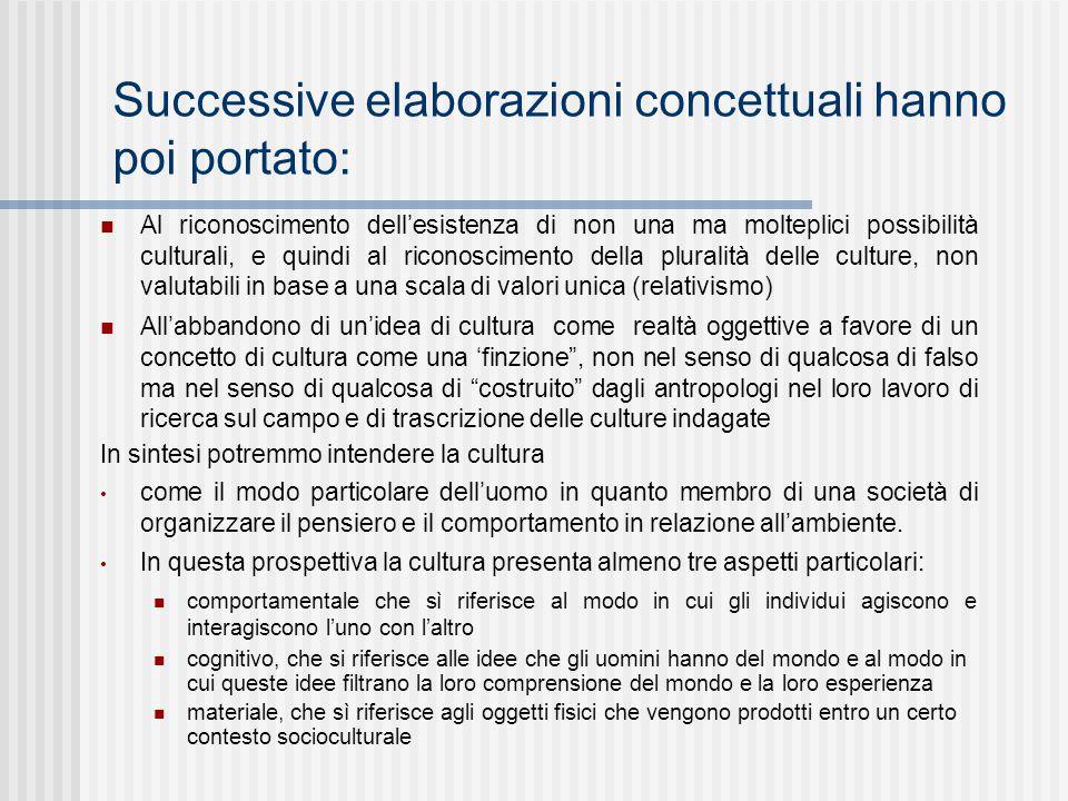 Successive elaborazioni concettuali hanno poi portato: Al riconoscimento dell'esistenza di non una ma molteplici possibilità culturali, e quindi al ri