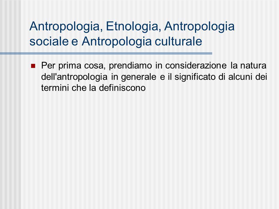 Antropologia, Etnologia, Antropologia sociale e Antropologia culturale Per prima cosa, prendiamo in considerazione la natura dell'antropologia in gene
