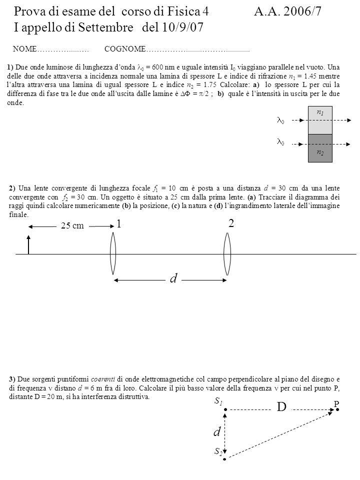Prova di esame del corso di Fisica 4 A.A. 2006/7 I appello di Settembre del 10/9/07 NOME………….....…. COGNOME……………........………............ 1) Due onde lu