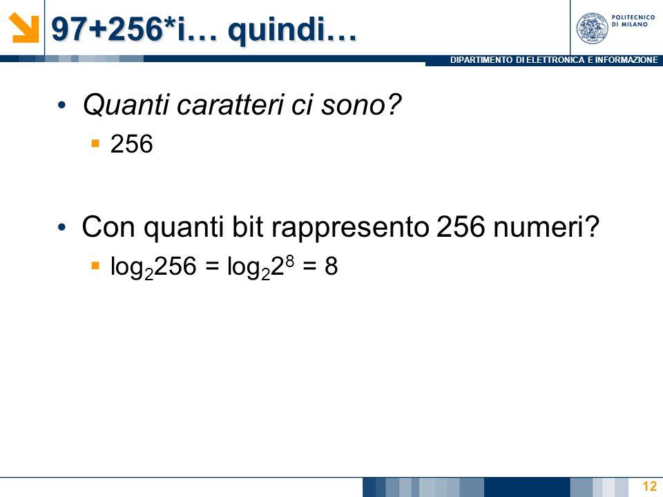 DIPARTIMENTO DI ELETTRONICA E INFORMAZIONE 97+256*i… quindi… Quanti caratteri ci sono?  256 Con quanti bit rappresento 256 numeri?  log 2 256 = log