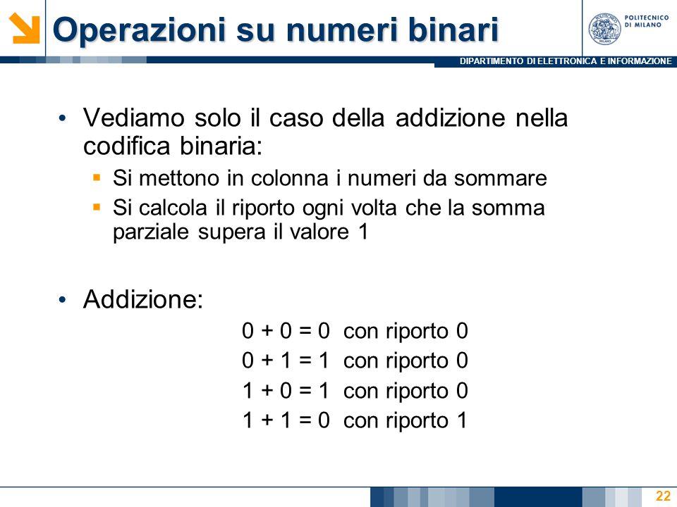 DIPARTIMENTO DI ELETTRONICA E INFORMAZIONE Operazioni su numeri binari Vediamo solo il caso della addizione nella codifica binaria:  Si mettono in colonna i numeri da sommare  Si calcola il riporto ogni volta che la somma parziale supera il valore 1 Addizione: 0 + 0 = 0 con riporto 0 0 + 1 = 1 con riporto 0 1 + 0 = 1 con riporto 0 1 + 1 = 0 con riporto 1 22