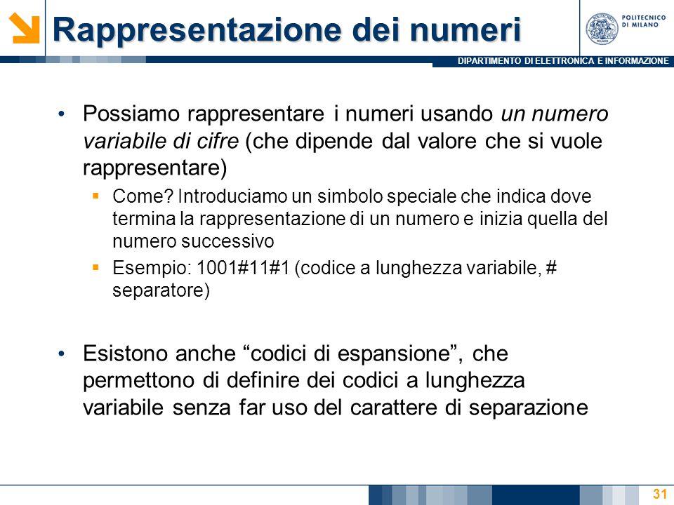 DIPARTIMENTO DI ELETTRONICA E INFORMAZIONE Rappresentazione dei numeri Possiamo rappresentare i numeri usando un numero variabile di cifre (che dipende dal valore che si vuole rappresentare)  Come.