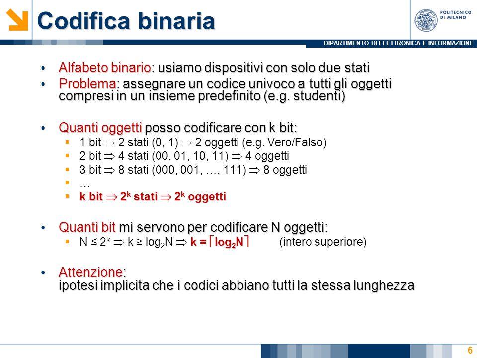 DIPARTIMENTO DI ELETTRONICA E INFORMAZIONE Codifica binaria Alfabeto binario: usiamo dispositivi con solo due stati Alfabeto binario: usiamo dispositi