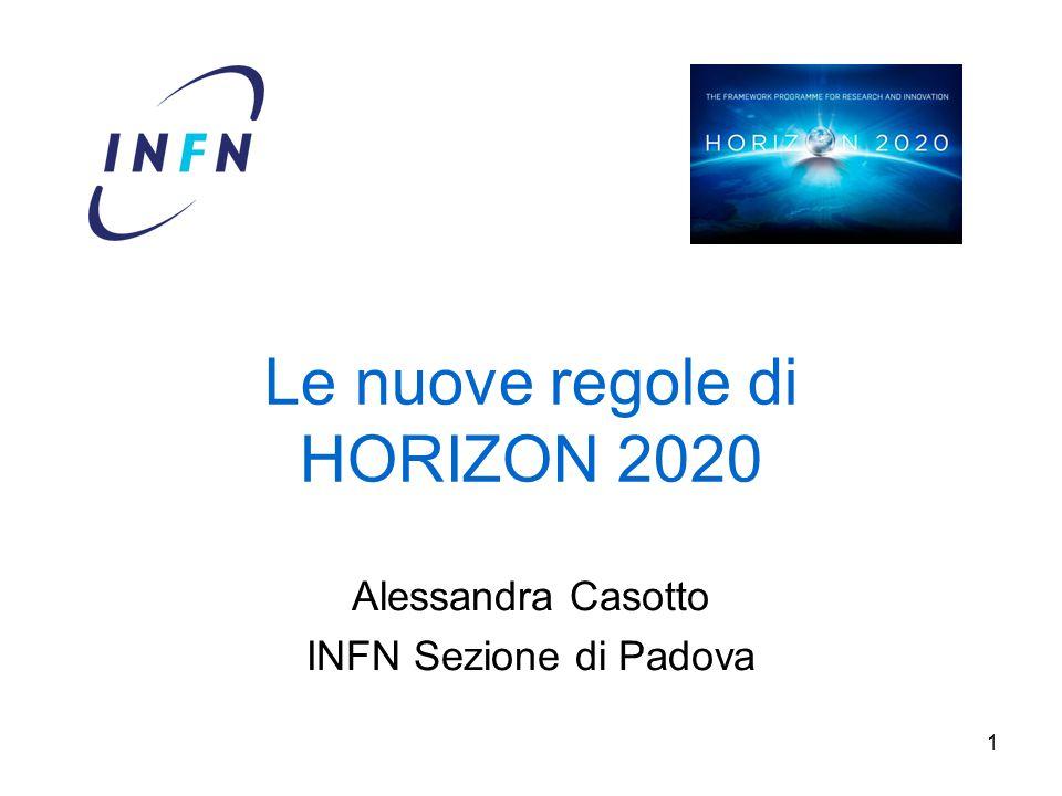 1 Le nuove regole di HORIZON 2020 Alessandra Casotto INFN Sezione di Padova