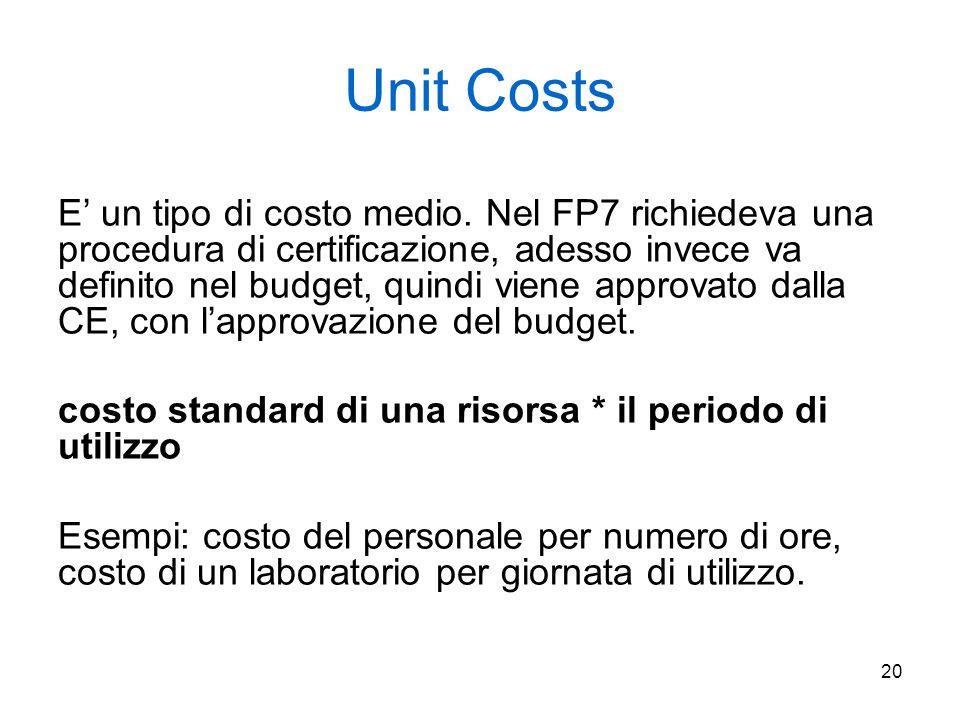 20 Unit Costs E' un tipo di costo medio. Nel FP7 richiedeva una procedura di certificazione, adesso invece va definito nel budget, quindi viene approv