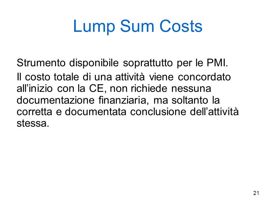21 Lump Sum Costs Strumento disponibile soprattutto per le PMI. Il costo totale di una attività viene concordato all'inizio con la CE, non richiede ne