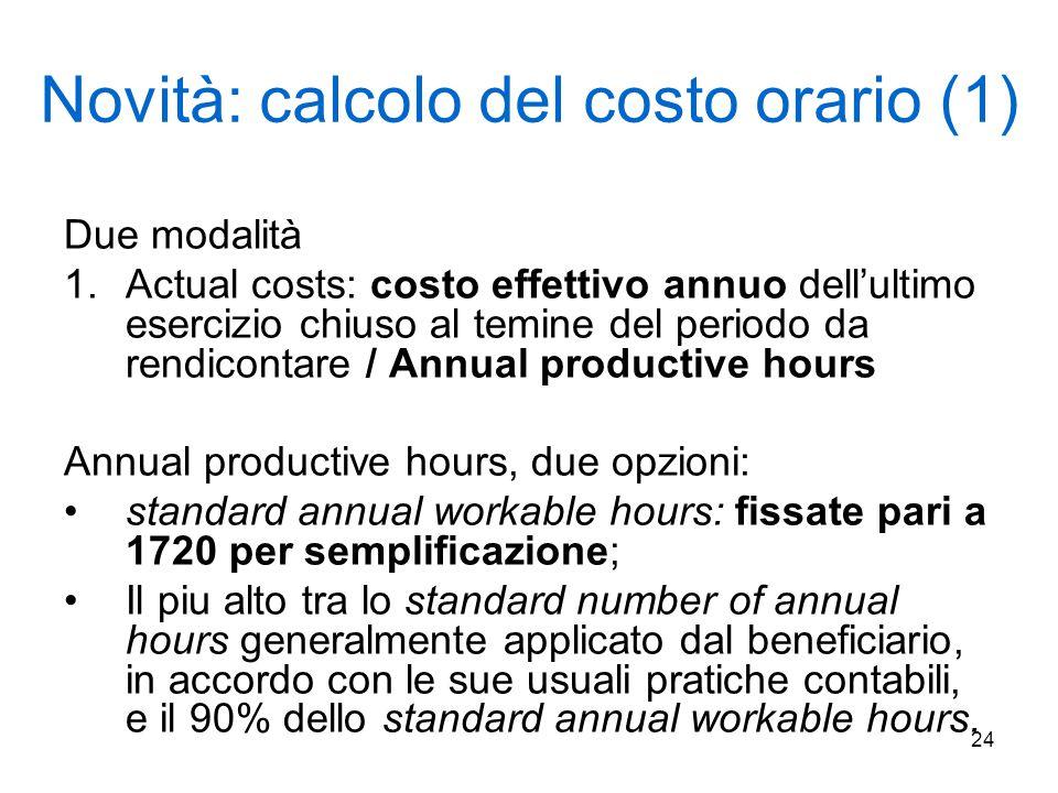 24 Novità: calcolo del costo orario (1) Due modalità 1.Actual costs: costo effettivo annuo dell'ultimo esercizio chiuso al temine del periodo da rendi