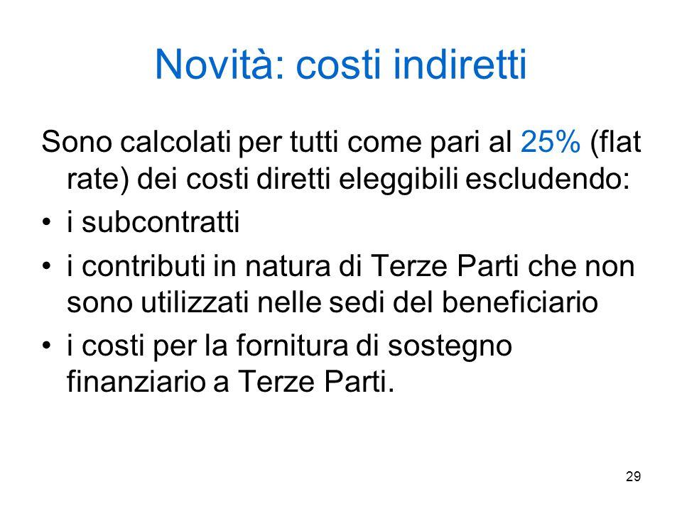 29 Novità: costi indiretti Sono calcolati per tutti come pari al 25% (flat rate) dei costi diretti eleggibili escludendo: i subcontratti i contributi