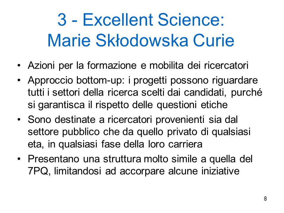 8 3 - Excellent Science: Marie Skłodowska Curie Azioni per la formazione e mobilita dei ricercatori Approccio bottom-up: i progetti possono riguardare tutti i settori della ricerca scelti dai candidati, purché si garantisca il rispetto delle questioni etiche Sono destinate a ricercatori provenienti sia dal settore pubblico che da quello privato di qualsiasi eta, in qualsiasi fase della loro carriera Presentano una struttura molto simile a quella del 7PQ, limitandosi ad accorpare alcune iniziative
