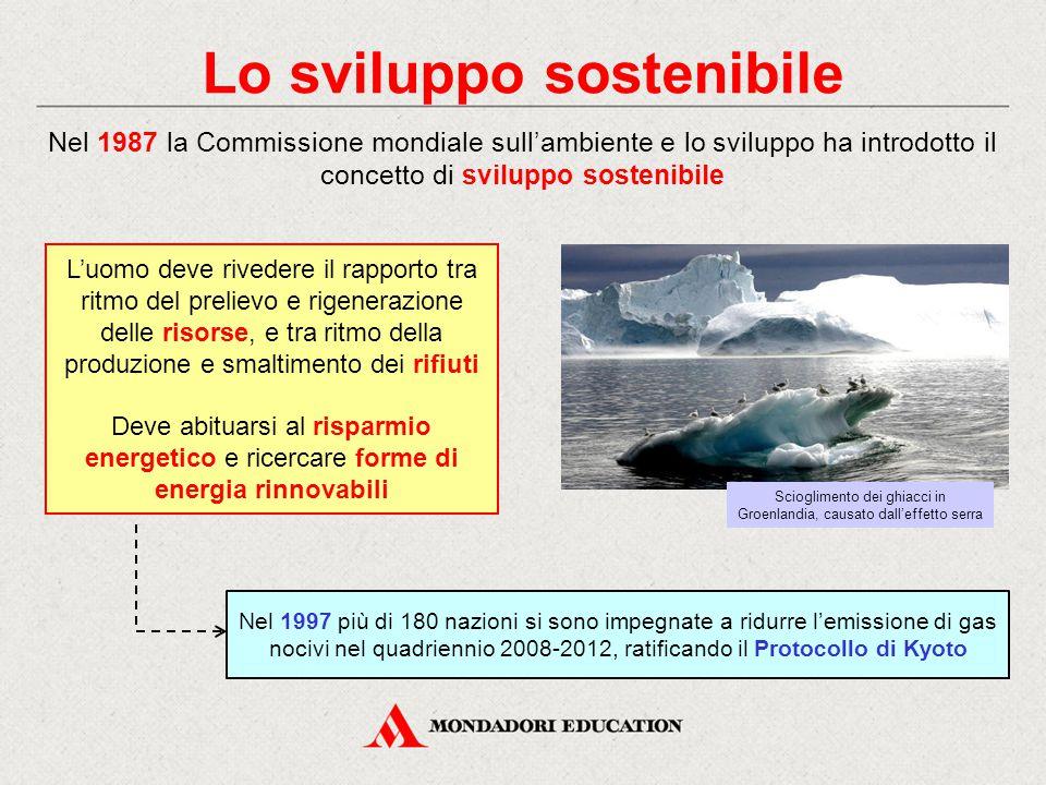 Lo sviluppo sostenibile Nel 1987 la Commissione mondiale sull'ambiente e lo sviluppo ha introdotto il concetto di sviluppo sostenibile Nel 1997 più di