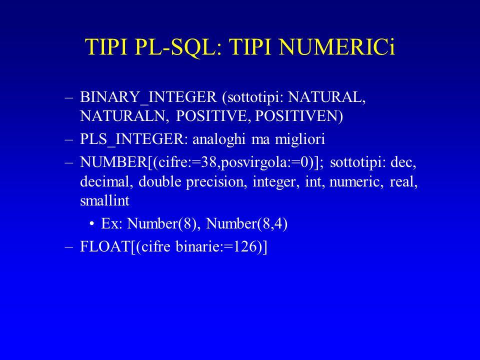 TIPI PL-SQL: STRINGHE –CHAR[(max length:=1)] dimensione fissa (max<256 per le colonne, 32767 per le variabili); sub: character –LONG: dim variabile (<2MB per le colonne, 32760 per le variabili) –RAW(max length): non interpretati; max colonna: 255; variabile: 32767 –LONG RAW: long+raw –ROWID: memorizza rowid in formato bbbbbbbb.rrrr.ffff –VARCHAR2(max length); max col<2000, var<32767; dimensione variabile; sub: string, varchar