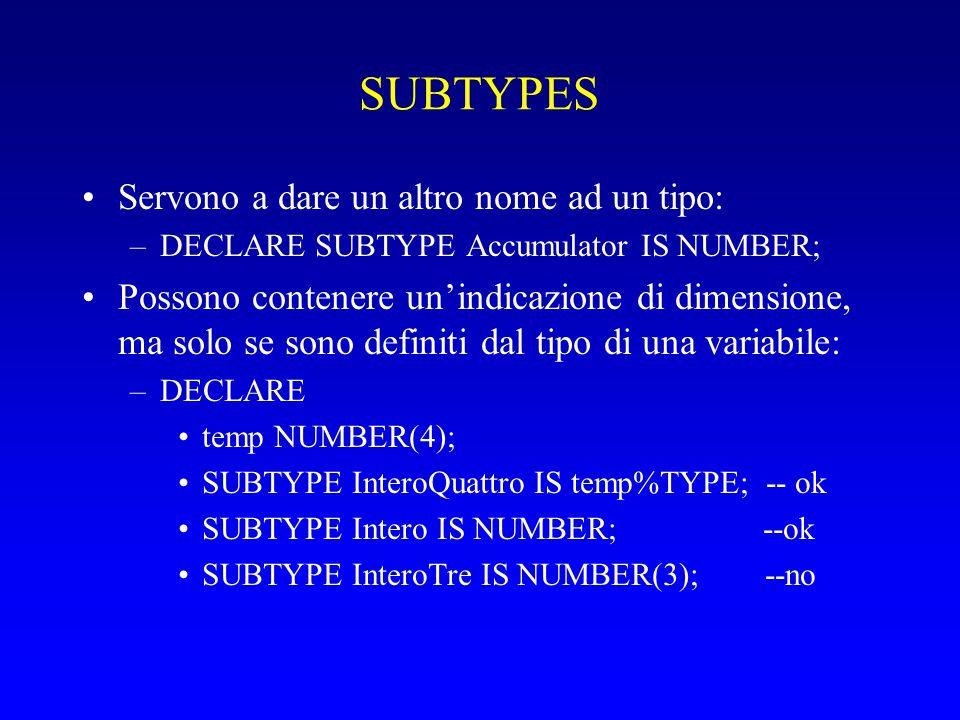 SUBTYPES Servono a dare un altro nome ad un tipo: –DECLARE SUBTYPE Accumulator IS NUMBER; Possono contenere un'indicazione di dimensione, ma solo se sono definiti dal tipo di una variabile: –DECLARE temp NUMBER(4); SUBTYPE InteroQuattro IS temp%TYPE; -- ok SUBTYPE Intero IS NUMBER; --ok SUBTYPE InteroTre IS NUMBER(3); --no