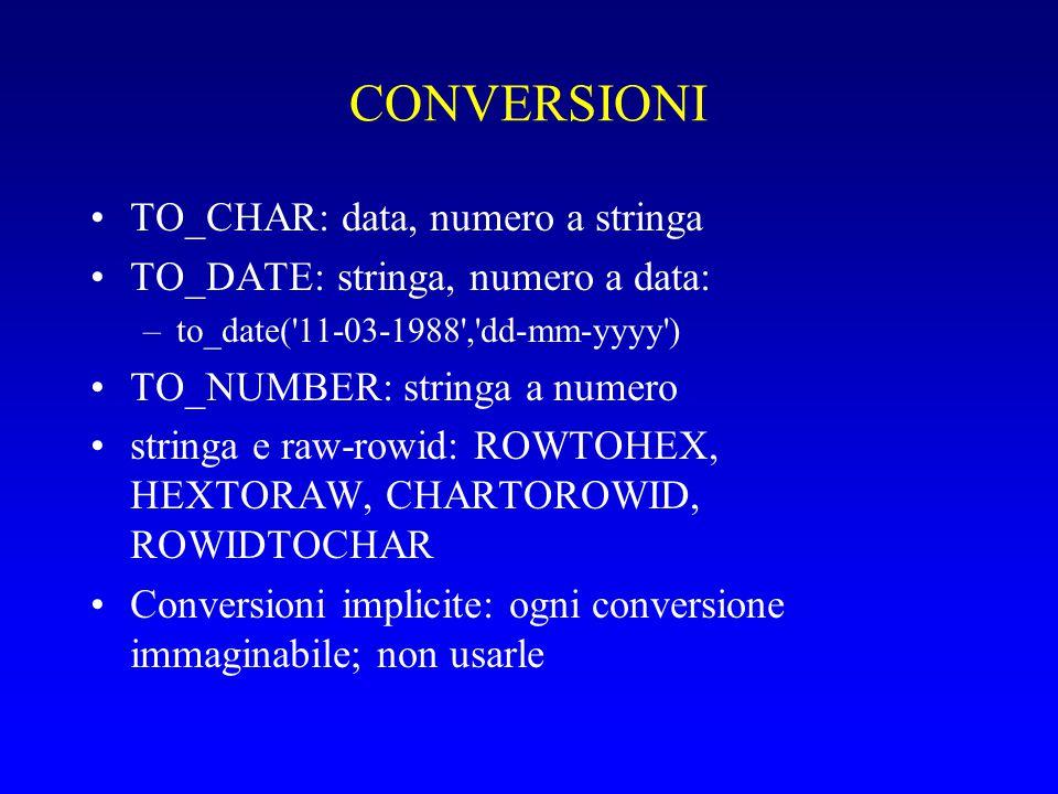 CONVERSIONI TO_CHAR: data, numero a stringa TO_DATE: stringa, numero a data: –to_date( 11-03-1988 , dd-mm-yyyy ) TO_NUMBER: stringa a numero stringa e raw-rowid: ROWTOHEX, HEXTORAW, CHARTOROWID, ROWIDTOCHAR Conversioni implicite: ogni conversione immaginabile; non usarle