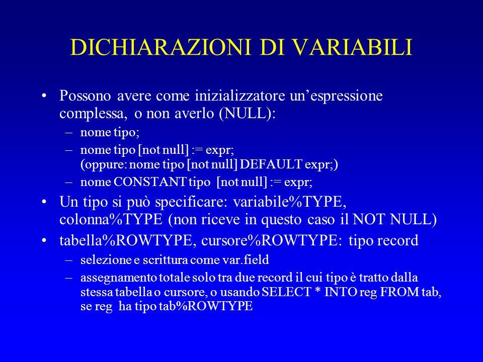 DICHIARAZIONI DI VARIABILI Possono avere come inizializzatore un'espressione complessa, o non averlo (NULL): –nome tipo; –nome tipo [not null] := expr; (oppure: nome tipo [not null] DEFAULT expr;) –nome CONSTANT tipo [not null] := expr; Un tipo si può specificare: variabile%TYPE, colonna%TYPE (non riceve in questo caso il NOT NULL) tabella%ROWTYPE, cursore%ROWTYPE: tipo record –selezione e scrittura come var.field –assegnamento totale solo tra due record il cui tipo è tratto dalla stessa tabella o cursore, o usando SELECT * INTO reg FROM tab, se reg ha tipo tab%ROWTYPE