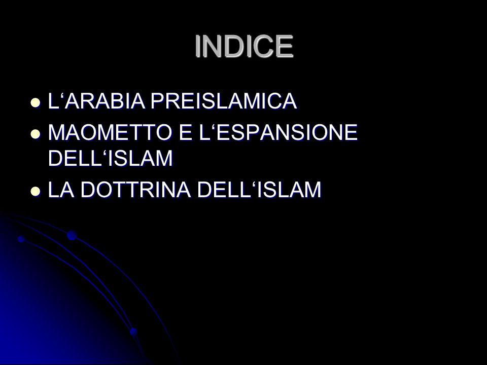 INDICE L'ARABIA PREISLAMICA L'ARABIA PREISLAMICA MAOMETTO E L'ESPANSIONE DELL'ISLAM MAOMETTO E L'ESPANSIONE DELL'ISLAM LA DOTTRINA DELL'ISLAM LA DOTTR