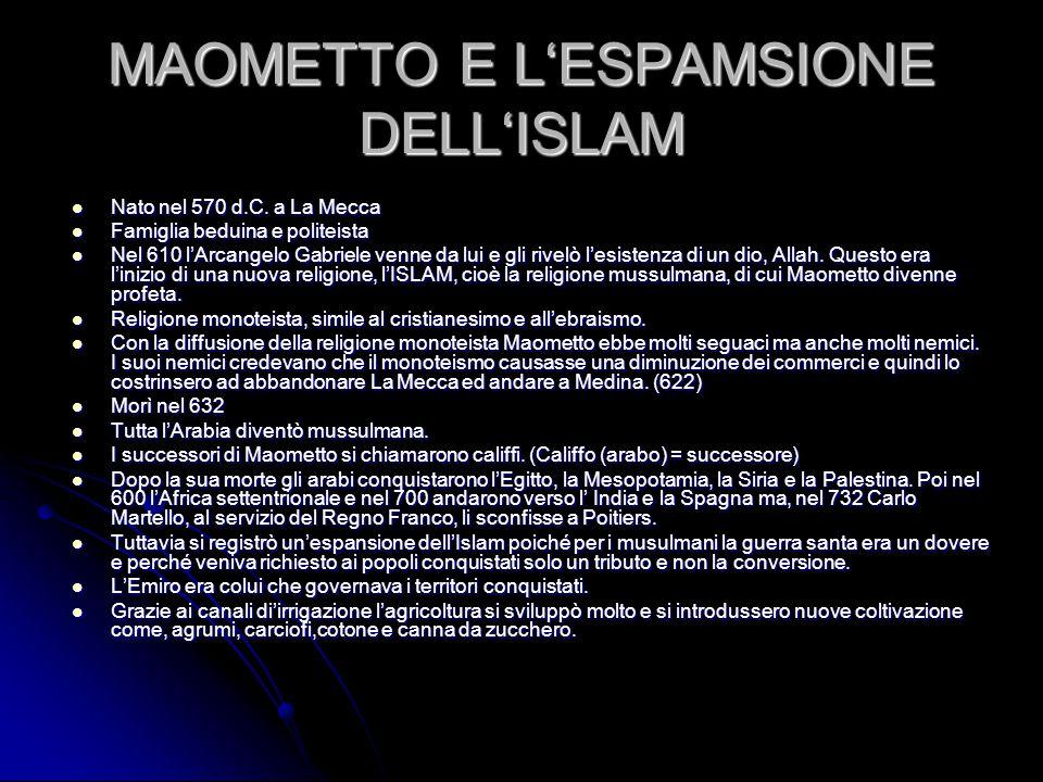 MAOMETTO E L'ESPAMSIONE DELL'ISLAM Nato nel 570 d.C. a La Mecca Nato nel 570 d.C. a La Mecca Famiglia beduina e politeista Famiglia beduina e politeis