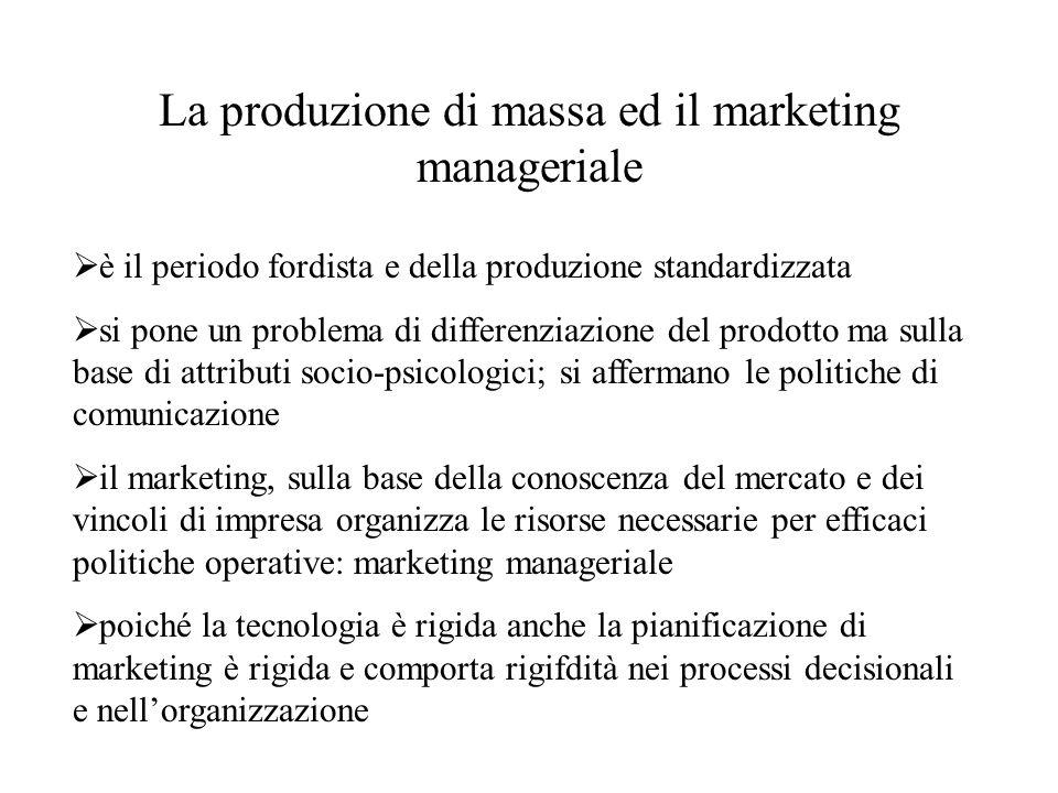 La produzione di massa ed il marketing manageriale  è il periodo fordista e della produzione standardizzata  si pone un problema di differenziazione