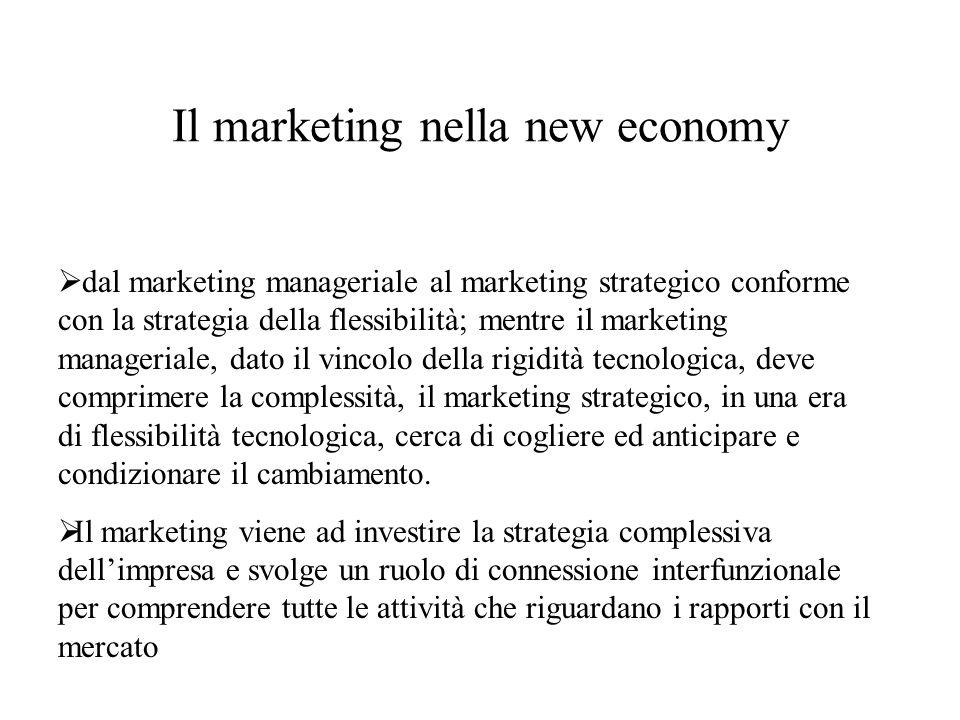 Il marketing nella new economy  dal marketing manageriale al marketing strategico conforme con la strategia della flessibilità; mentre il marketing manageriale, dato il vincolo della rigidità tecnologica, deve comprimere la complessità, il marketing strategico, in una era di flessibilità tecnologica, cerca di cogliere ed anticipare e condizionare il cambiamento.