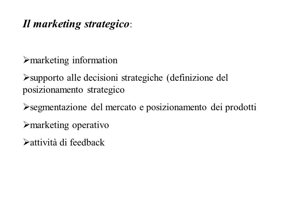 Il marketing strategico :  marketing information  supporto alle decisioni strategiche (definizione del posizionamento strategico  segmentazione del mercato e posizionamento dei prodotti  marketing operativo  attività di feedback