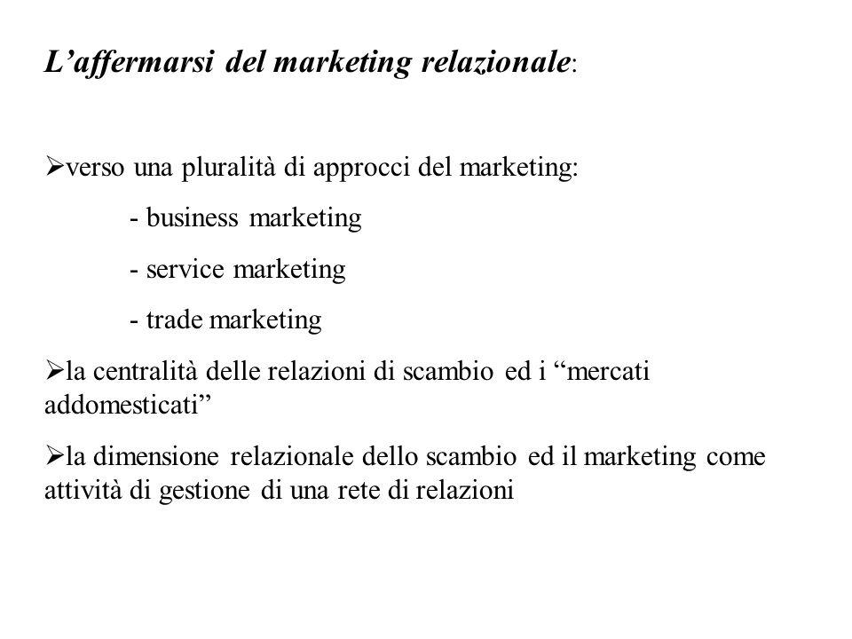 L'affermarsi del marketing relazionale :  verso una pluralità di approcci del marketing: - business marketing - service marketing - trade marketing  la centralità delle relazioni di scambio ed i mercati addomesticati  la dimensione relazionale dello scambio ed il marketing come attività di gestione di una rete di relazioni