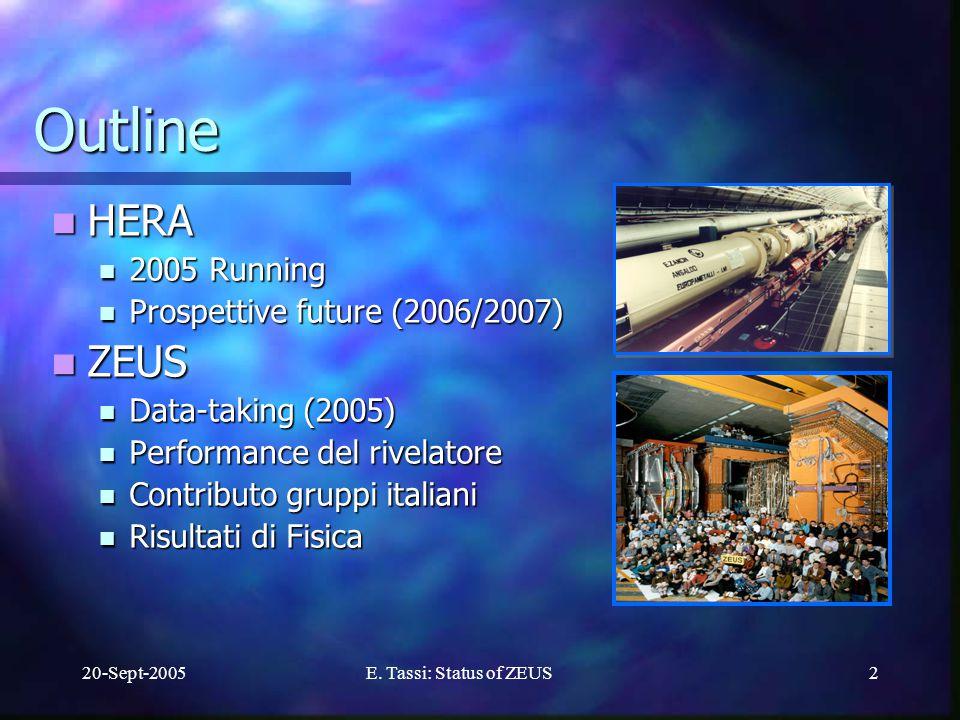 20-Sept-2005E.Tassi: Status of ZEUS3 HERA: Luminosita` e- running.