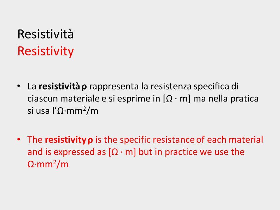 Resistività Resistivity La resistività ρ rappresenta la resistenza specifica di ciascun materiale e si esprime in [Ω ∙ m] ma nella pratica si usa l'Ω·mm 2 /m The resistivity ρ is the specific resistance of each material and is expressed as [Ω ∙ m] but in practice we use the Ω·mm 2 /m