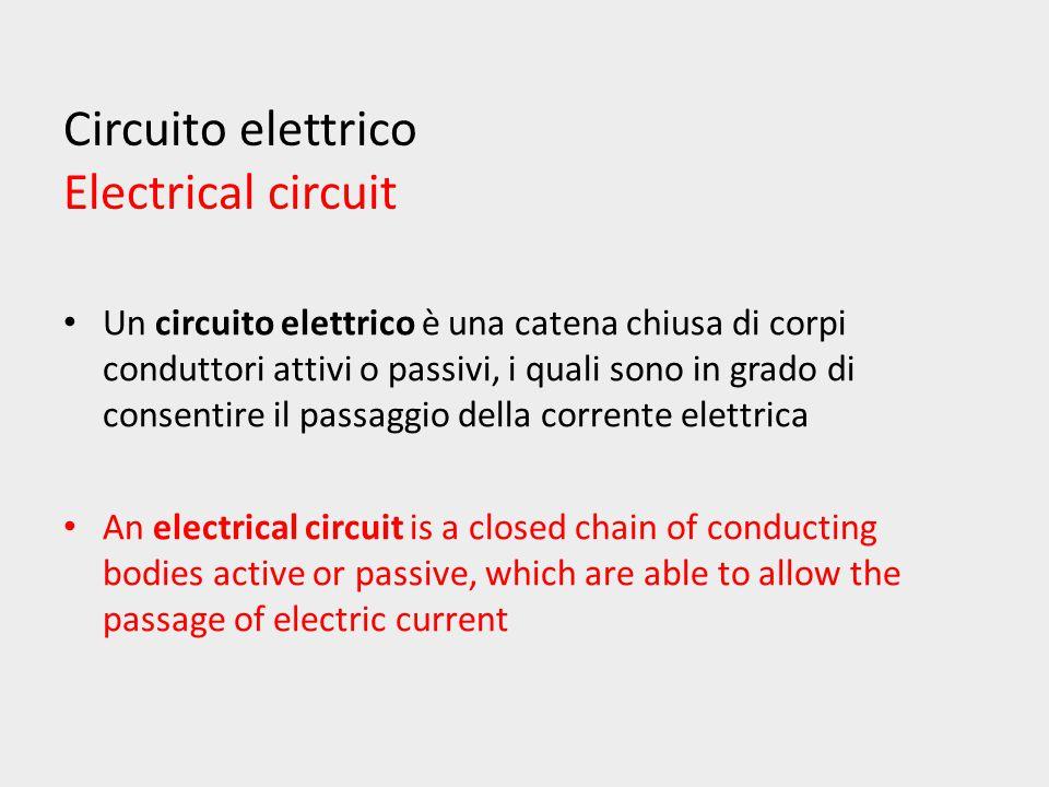 Circuito elettrico Electrical circuit Un circuito elettrico è una catena chiusa di corpi conduttori attivi o passivi, i quali sono in grado di consentire il passaggio della corrente elettrica An electrical circuit is a closed chain of conducting bodies active or passive, which are able to allow the passage of electric current