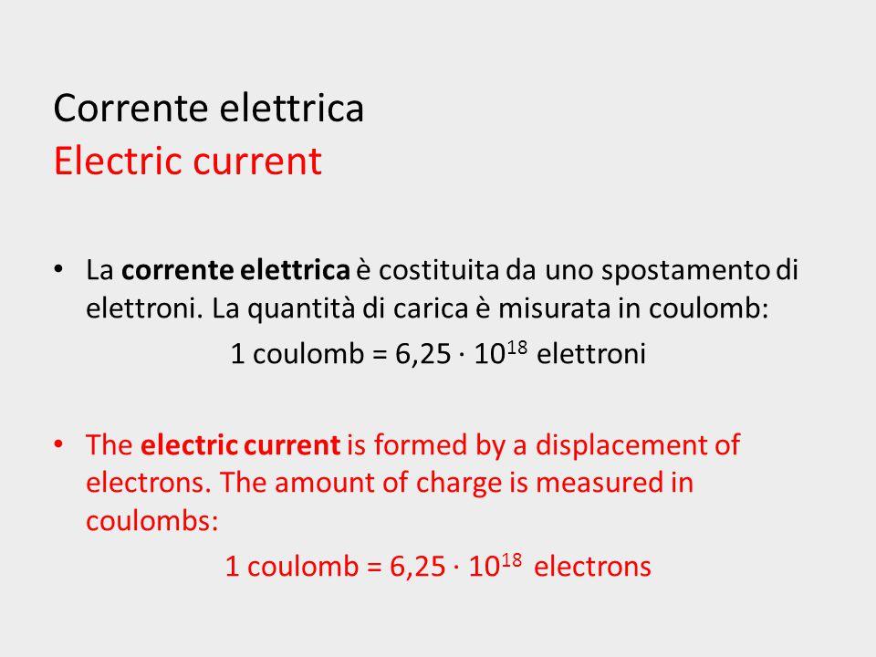 Corrente elettrica Electric current La corrente elettrica è costituita da uno spostamento di elettroni.