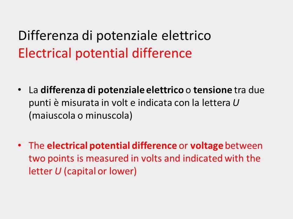Differenza di potenziale elettrico Electrical potential difference Tra due punti di un circuito esiste la d.d.p.
